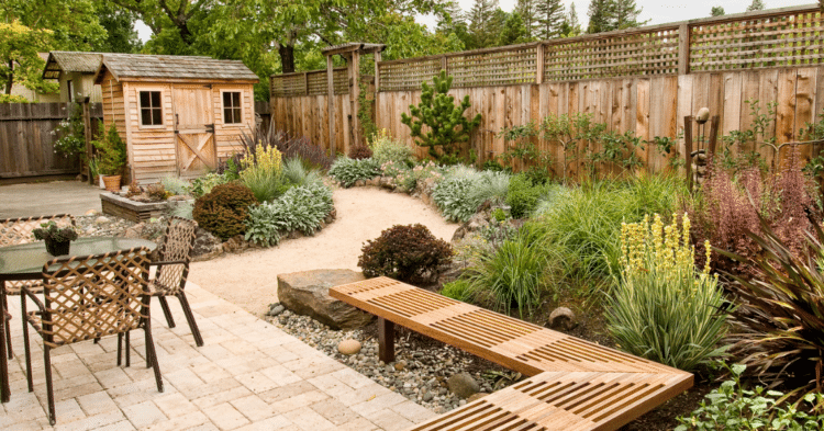 Landscape to make a small yard appear larger